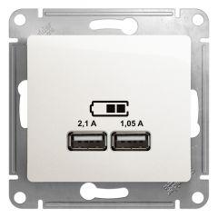 Schneider Electric GLOSSA USB РОЗЕТКА A+A, 5В/2,1 А, 2х5В/1,05 А, механизм, ПЕРЛАМУТР
