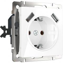 Werkel Розетка с заземлением, шторками и USBх2 (белая) W1171501