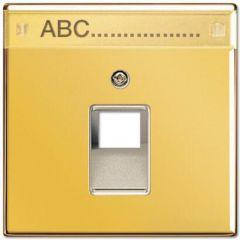 Накладка 1-ой наклонной телефонной/компьютерной розетки с полем для надписи Jung LS 990 блеск золота GO2969-1NAUA