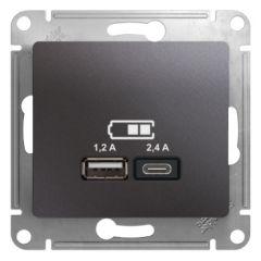 Schneider Electric GLOSSA USB РОЗЕТКА A+С, 5В/2,4А, 2х5В/1,2 А, механизм, ГРАФИТ