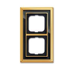 Рамка 2-постовая ABB Dynasty латунь полированная/черное стекло 2CKA001754A4566