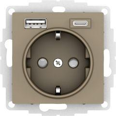 Schneider Electric ATLASDESIGN РОЗЕТКА 16А c 2 USB A+C, 5В/2,4А/3,0А, 2х5В/1,5А, механизм, ШАМПАНЬ