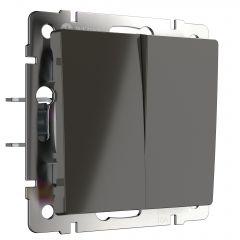 Werkel Выключатель двухклавишный проходной (серо-коричневый) WL07-SW-2G-2W