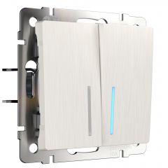 Werkel Выключатель двухклавишный проходной с подсветкой (перламутровый рифленый) W1122113