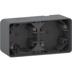 Schneider Electric MUREVA S ДВОЙНОЙ БОКС для накладного монтажа горизонтальный, АНТРАЦИТ, IP55