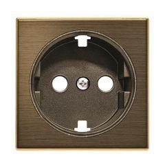 Лицевая панель ABB Sky розетки Schuko с/з со шторками античная латунь 2CLA858800A1201