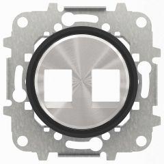 Лицевая панель ABB Sky Moon розетки 2хRJ45/RJ12 cтекло чёрное 2CLA861820A1501