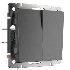 Werkel Выключатель двухклавишный (графит рифленый) W1120004