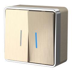 Werkel Выключатель двухклавишный с подсветкой Gallant (шампань рифленый) W5020110