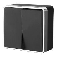 Werkel Выключатель двухклавишный Gallant (черный/хром) W5020035