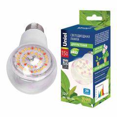 Лампа светодиодная для растений (UL-00007405) Uniel E27 15W прозрачная LED-A60-15W/SPFB/E27/CL PLP30WH