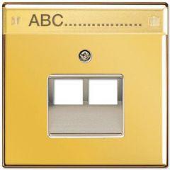 Накладка 2-ой наклонной телефонной/компьютерной розетки с полем для надписи Jung LS 990 блеск золота GO2969-2NAUA