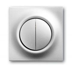 Лицевая панель ABB Impuls выключателя двухклавишного серебристо-алюминиевый 2CKA001753A0065