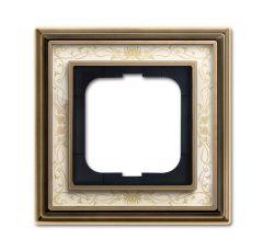 Рамка 1-постовая ABB Dynasty латунь античная/белая роспись 2CKA001754A4590