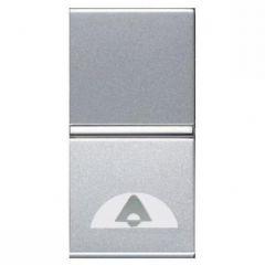 Выключатель кнопочный одноклавишный ABB Zenit 16A 250V Звонок серебро N2104 PL