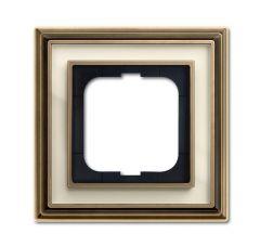 Рамка 1-постовая ABB Dynasty латунь античная/белое стекло 2CKA001754A4580