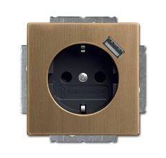 Розетка ABB Dynasty Schuko с/з 16A 250V со шторками USB безвинтовой зажим латунь античная/антрацит 2CKA002011A6246