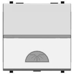 Выключатель кнопочный одноклавишный ABB Zenit 16A 250V Свет серебро N2204.2 PL