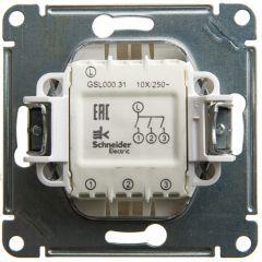 Schneider Electric GLOSSA 3-клавишный ВЫКЛЮЧАТЕЛЬ, сх.1+1+1, 10АХ, механизм, ПЕРЛАМУТР