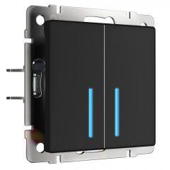 Werkel Сенсорный выключатель двухклавишный с функцией Wi-Fi (черный) W4520608