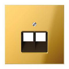 Накладка 2-ой наклонной телефонной/компьютерной розетки Jung LS 990 блеск золота GO2969-2UA