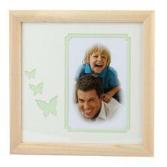 Фоторамка Image Art серия Eco С22, 20x20 Салатовые бабочки, размер фото- 10x15 художественное паспарту, 2 слоя Б0050053
