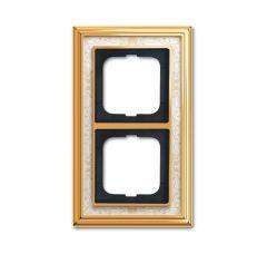 Рамка 2-постовая ABB Dynasty латунь полированная/белая роспись 2CKA001754A4571