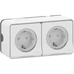Schneider Electric MUREVA S Блок из двух розеток с з/к и шт. 16А, 250В, безвинтов., БЕЛЫЙ, IP55