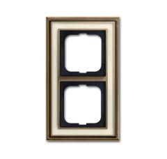 Рамка 2-постовая ABB Dynasty латунь античная/белое стекло 2CKA001754A4581