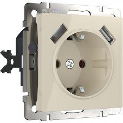 Werkel Розетка с заземлением, шторками и USBх2 (слоновая кость) W1171503