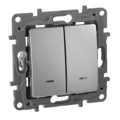 Выключатель двухклавишный Legrand Etika с подсветкой 10A 250V алюминий 672404